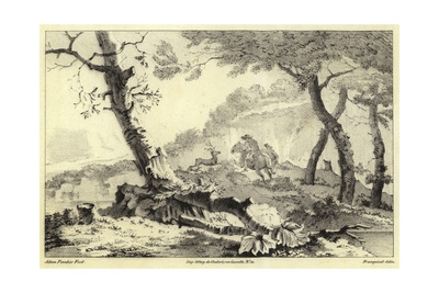 Stag Hunting Scene Giclee Print by Adam Pynacker