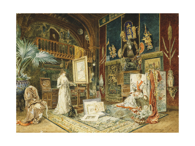 The Studio of Sarah Bernhard, 1885 Giclee Print by Marie Desire Bourgoin