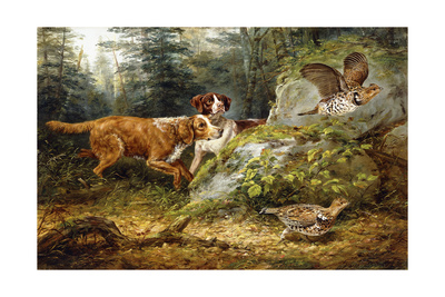 Flushed: Ruffed Grouse Shooting, 1857 Giclee Print by Arthur Fitzwilliam Tait
