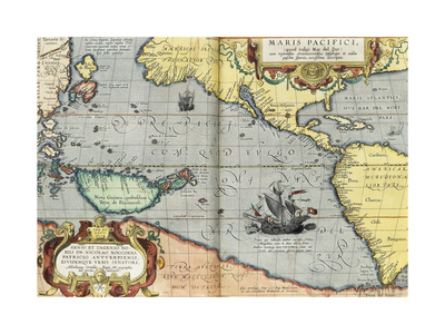 The Pacific Ocean, 1592 Giclee Print by Abraham Ortelius