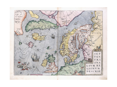 Double-Page Map of Northern Europe, 1575 Giclee Print by Abraham Ortelius