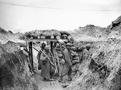 Relief Soldiers in a Trench in Champagne, 1915-16 Photographic Print by Jacques Moreau