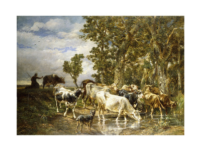 Herd of Cows at a Drinking Pool Giclee Print by Charles Emile Jacque