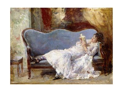 A Lady Reading Giclee Print by Eduardo-leon Garrido