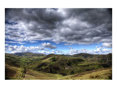 Patchwork Green Mountains with Clouds Print by Nish Nalbandian