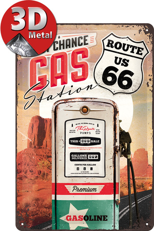 Route 66 Gas Station Tin Sign