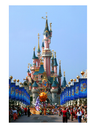 Parade in the Main Street U.S.A. with Castle of Sleeping Beauty, Disneyland Park Paris Art
