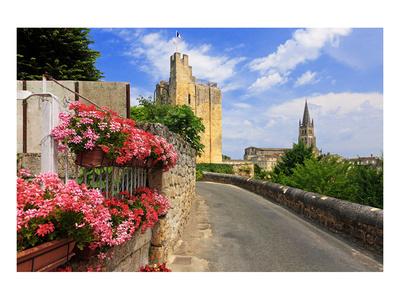 King's Tower with Parish Church of Saint-Emilion, Department Gironde, Aquitaine, France Art