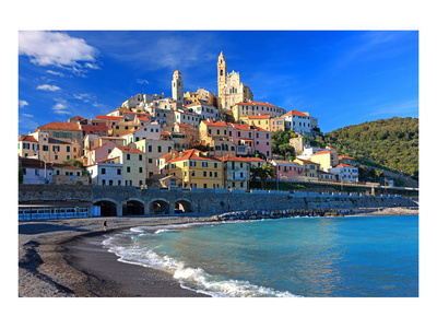 View of the Medieval Old Town of Cervo, Province of Imperia, Liguria, Italy Prints