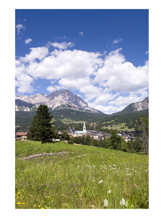 View of Cortina d' Ampezzo, Dolomites, Veneto, Italy Art