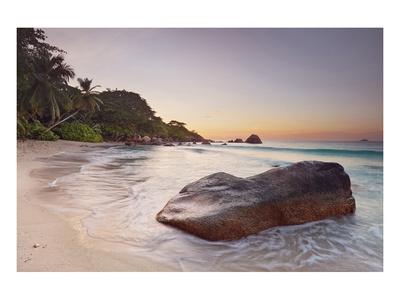 Rock on the Anse Lazio beach, Praslin Island, Seychelles Print