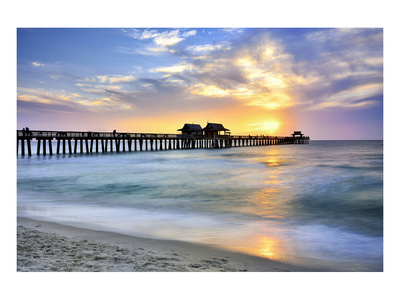 Pier on the Beach of Naples on the Gulf Coast, Florida, USA Prints