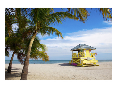 Lifeguard station on the Beach, Crandon Park, Key Biscayne, Florida, USA Poster