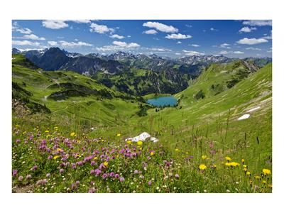 Lake Seealpsee at Nebelhorn Mountain (2224m), Oberstdorf, Allgaeu, Swabia, Bavaria, Germany Print