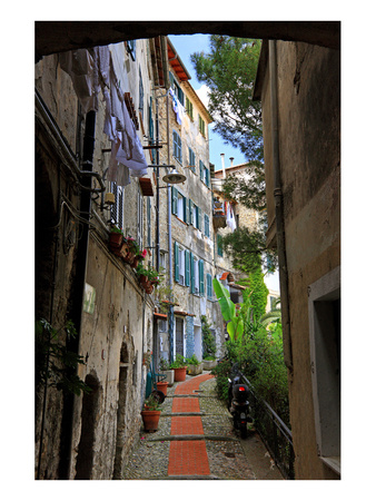 Alley in the Old Town of Ventimiglia, Province of Imperia, Liguria, Italy Posters
