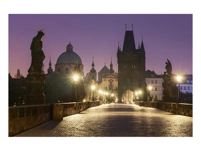 Charles Bridge and Old Town Bridge Tower in Prague, Central Bohemia, Czech Republic Prints