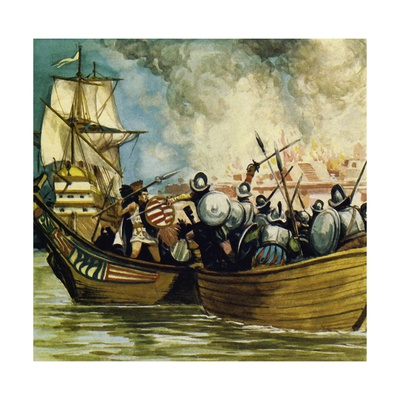 Cortes Captured the Young King Cuauhtemoc as He Tried to Escape by Canoe Giclee Print by Alberto Salinas
