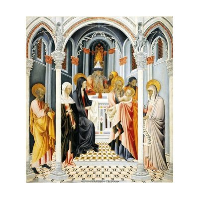 Presentation by Jesus in Temple Giclée-tryk af Giovanni di Paolo