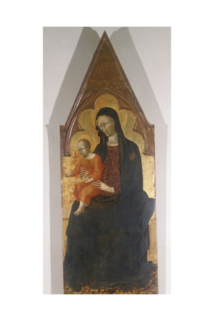 Madonna with Child, Detail of Polyptych Giclée-tryk af Giovanni di Paolo