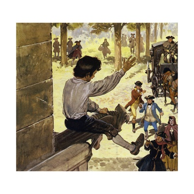 Clive Was Always a Reckless Boy, Climbing a Church Steeple Giclee Print by Alberto Salinas