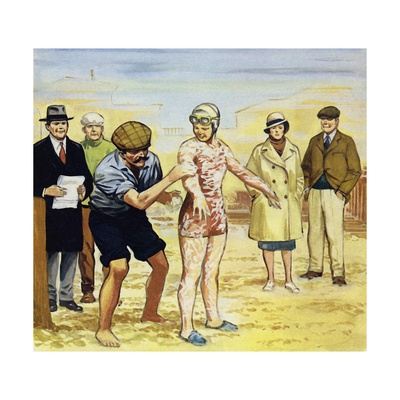 Her Trainer Smothered Her in Grease for Her Second Attempt in 1926 Giclee Print by Alberto Salinas