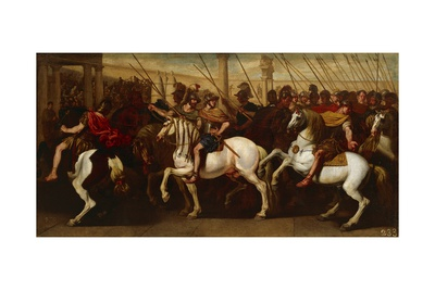 Gladiators and Roman Soldiers Entering Circus Giclée-tryk af Aniello Falcone