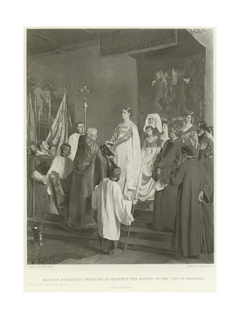 Mary of Burgundy Swearing to Respect the Rights of the City of Brussels Giclee Print by Emile Charles Wauters