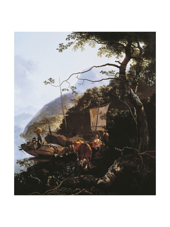 Boat on Shore of Lake, Circa 1660 Giclee Print by Adam Pynacker