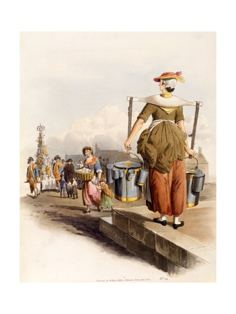A Milkmaid, from the Costumes of Great Britain, 1805 Giclee Print by William Henry Pyne