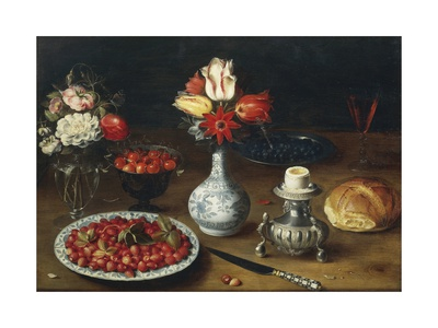 Still Life with Flowers, Fruits, Vases and Other Objects Giclee Print by Osias Beert