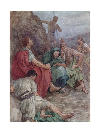 Brutus and His Companions after the Battle of Philippi Giclee Print by William Rainey
