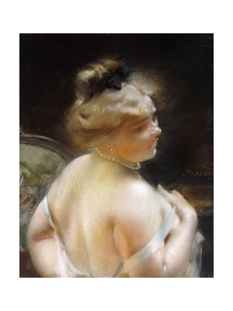 Woman with a Pearl Necklace, Femme Au Collier De Perles Giclee Print by Paul Albert Besnard