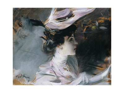 Portrait of Lina Cavalieri with New Hat Giclee Print by Giovanni Boldini