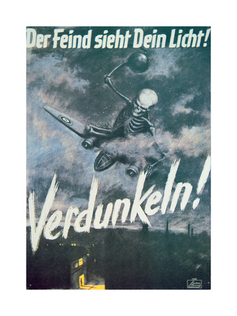 The Enemy Sees Your Light! Blackout!', German World War II Poster, C.1942 Giclee Print