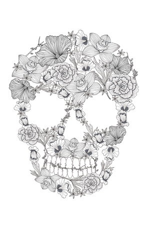 Skull From Flowers Plastic Sign by cherry blossom girl