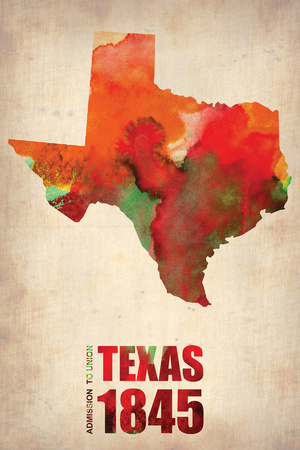 Texas Watercolor Map Plastic Sign by  NaxArt