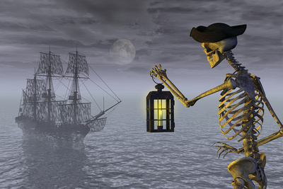 Skeleton Pirate With Ghost Ship Plastic Sign by  AlienCat
