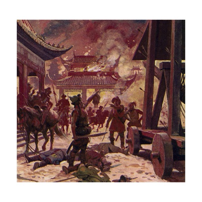 Genghis Khan Killed the Population of Pekin and Razed the City to the Ground Giclee Print by Alberto Salinas