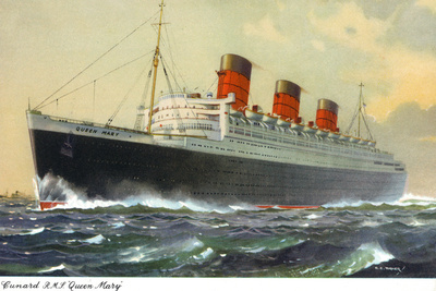 View of Cunard Ocean Liner Queen Mary Plastic Sign by  Lantern Press