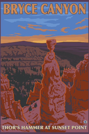 Thor's Hammer, Bryce Canyon, Utah Plastic Sign by  Lantern Press