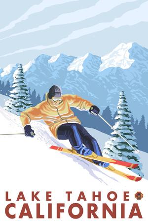 Downhhill Snow Skier, Lake Tahoe, California Plastic Sign by  Lantern Press