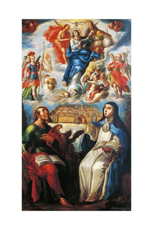 Mystical Vision with St John Evangelist and Mary Mother of Jesus of Agreda Giclee Print by Cristobal de Villalpando