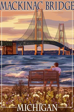 Mackinac Bridge and Sunset, Michigan Plastic Sign by  Lantern Press