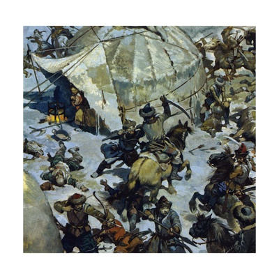 In the 12th Century, the Lands of the Mongols Was the Scenec of Perpetual Feudal Battles Giclee Print by Alberto Salinas