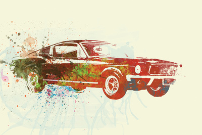 Ford Mustang Watercolor Plastic Sign by  NaxArt