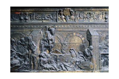 Italy, Florence, Church of San Lorenzo, Resurrection, Detail from Right Side of Relief of Pulpit Giclee Print by Donatello