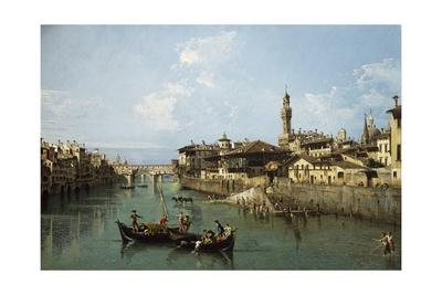 Arno River and Ponte Vecchio in Florence, 1742 Giclee Print by Bernardo Bellotto