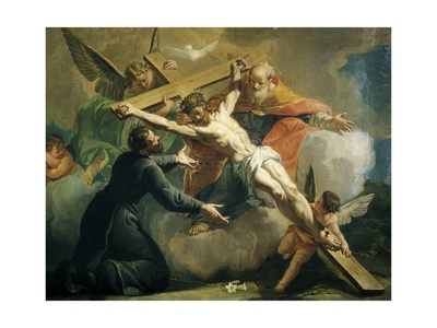 Crucifixion with God the Father and Saint Ignatius of Loyola Giclee Print by Francesco Fontebasso