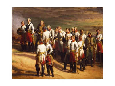 Ulm, October 20, 1805, Austrian General Karl Mack and His Staff Surrendering to Napoleon, 1815 Giclee Print by Charles Thevenin