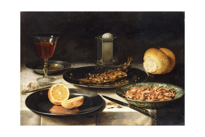 A Herring with Capers and a Sliced Orange on Plates and a Bowl of Shrimp on a Table Giclee Print by Clara Peeters